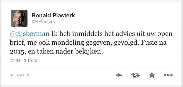 Kijk eens aan... tweet Plasterk